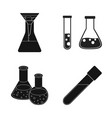 isolated object of flask and laboratory sign set vector image