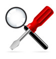 magnifying glass and screwdriver on white vector image