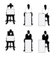 man silhouette siting on chair with card vector image vector image