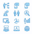 management consulting flat line icon set vector image