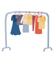 many different clothes hanging on a hanger in a vector image vector image