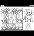 maze game with puppies coloring book page vector image vector image