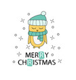 merry christmas greeting card with yellow chicken vector image vector image