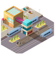 modern train station building isometric vector image vector image