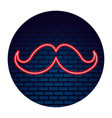 mustache fashion neon party vector image vector image