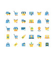 online shopping flat icon set vector image vector image