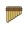 pan pipes bamboo peruvian flute flat color line vector image vector image