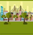 park and cityscape scene vector image