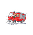 Red Fire Truck Fireman Caricature vector image vector image