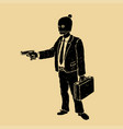 robber in a suit with a pistol vector image vector image