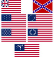 set of american flags vector image vector image