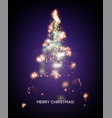 shining christmas tree light star background vector image vector image