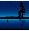 Silhouette of the fisherman beside yard vector image vector image