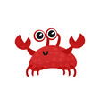smiling red crab with small claws and big shiny vector image vector image