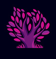 stylized purple branchy tree Ecology con vector image vector image