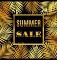 summer sale background with gold palms vector image vector image