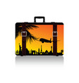 travel suitcase with symbol on it vector image vector image