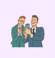 two businessmen affection and joy look at the vector image