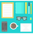 View from the top Stationery phone glasses etc vector image vector image