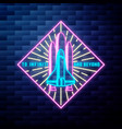 vintage space emblem glowing neon sign vector image vector image