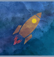 watercolor rocket on aquarelle background vector image
