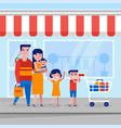 young caucasian white family with kids shopping vector image
