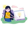 young woman video content creativity social media vector image vector image