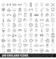 100 england icons set outline style vector image vector image