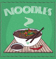 asian noodles naengmyeon or soba with vegetables vector image vector image