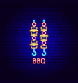 bbq neon label vector image