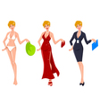 Blond in Three Different Occasions vector image vector image