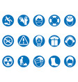 blue work safety round button icons set vector image vector image