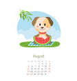 calendar 2018 months august with dog vector image vector image