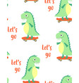 cartoon seamless pattern with dinosaurs vector image vector image