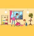 children help parents with housework mother vector image vector image