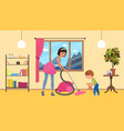 children help parents with housework mother with vector image