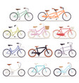 collection realistic bicycles vintage vector image vector image