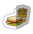 color sandwich with fries french icon vector image