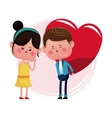 couple loving giving big red heart vector image