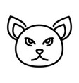 cute cat face feline character animal line icon vector image vector image