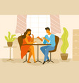cute romantic couple sitting at cafe table vector image vector image
