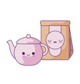 cute teapot with bag paper kawaii style vector image vector image