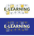 e-learning flat line concept for web banner and vector image vector image