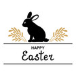 easter decorative icon with rabbit and branches vector image vector image