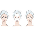 female face with facial mask in towel vector image vector image