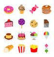food sweet dessert fastfood bakery snack vector image