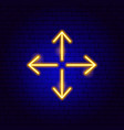 four arrow out neon sign vector image vector image