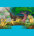 four gibbons in the forest vector image vector image