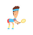 guy with funny face with racket in hand ready to vector image