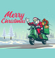 happy santa claus riding vintage scooter in the vector image vector image